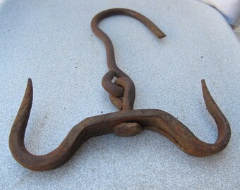 Old antique primitive hand wrought forged iron HOOK  hook