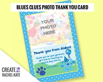 Blues Clues Birthday Party Personalized Printable Thank You Card Polka Dot | Color - Blue