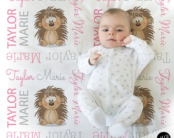 Hedgehog baby blanket, baby girl personalized baby gift, hedgehog blanket, baby blanket, personalized blanket, baby gift, choose colors