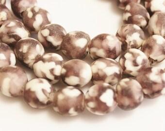 Purple African Glass Beads (18) ,Eco Friendly Recycled Glass Beads, Krobo Beads (K144)