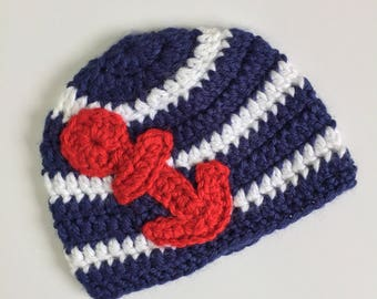 Red Anchor Beanie, Ready to Ship, Nautical Anchor Hat, Sailing Anchor Hat, Baby Boy Hat, Crochet Baby Boy Hat, Crochet Nautical Hat