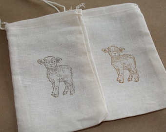 Set of 10 Hand stamped Sheep Lamb Baby Shower Favor Muslin Bags 100% organic made in america