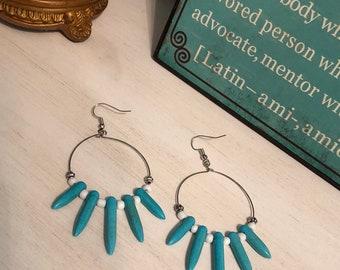 Turquoise Blue, Robins Egg Blue, Tiffany Blue, Magnesite & White Glass Bead Earrings, Silver Teardrop Hoop Earrings, Handmade Earri