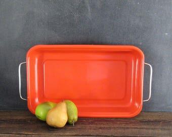Vintage Enamelware Baking Pan, Mid Century Orange Enamel Baking Pan,Vintage Baking Dish,Baking Pan with Removable Handles,10 x 16 Enamel Pan