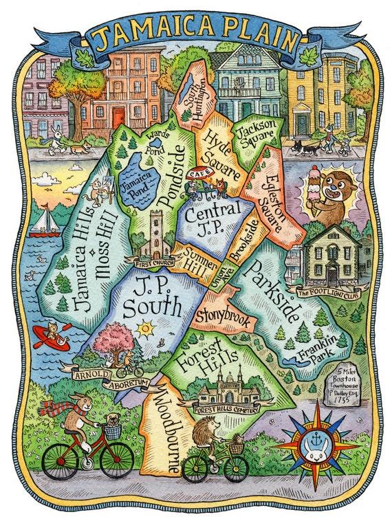 Jamaica Plain Boston Neighborhood Map Art Print 16 x