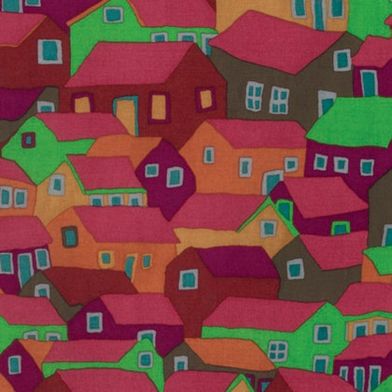 SHANTY TOWN Autumn Brandon Mably Kaffe Fassett Collective Sold in 1/2 yd increments