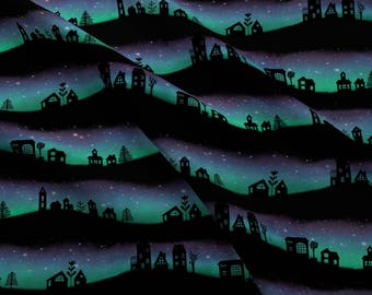 Aurora Borealis Fabric - Village Aurora By Katielee - Abstract Aurora Borealis Cotton Fabric by the Yard With Spoonflower
