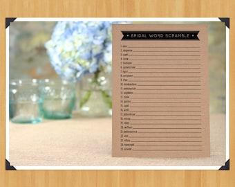 Printable Bridal Shower Word Scramble Game, DIY, Instant Download, Printable PDF, Black and White
