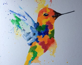 Painting Hummingbird Bird Watercolor original painting hummingbird water color bird