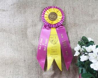 AKC Prize Ribbon, Award Ribbon, Rosette Ribbon, Best of Breed or Variety, 1981, Vintage