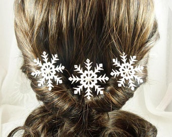 White and silver snowflakes hair small bead - set of 3 - fascinator romantic winter, made in France