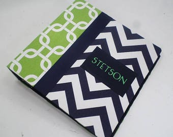 Baby Memory Book Boy Photo Album Personalized baby book 4x6 5x7 8x10 Pictures Pregnancy journal Navy green chevron School Childhood Diary