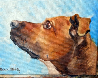 Oil Painting Dog Portrait, Custom Rhodesian Ridgeback mix or any breed Painting Gift Certificate