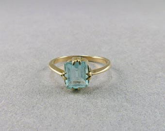 Vintage 9ct Gold Ring With Blue Faceted Glass Yellow Gold Jewelry