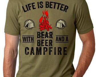 Camping T-shirt Beer Campfire Tee Shirt Summer Camping hitch-hiking Tee Shirt