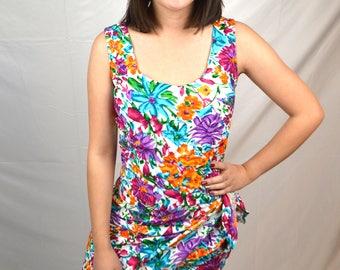 Vintage 80s Elisse Floral Mini Dress