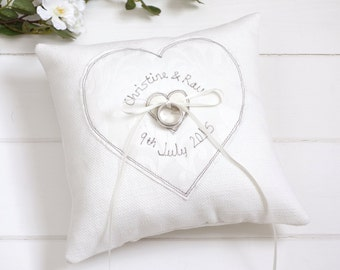 Personalised Wedding Ring Pillow - Embroidered Wedding Ring Cushion - Ring Bearer Pillow - Wedding Ring Holder - Something Blue For Bride