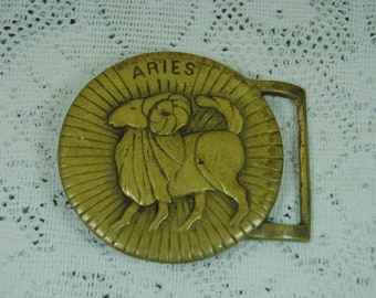 Vintage brass belt buckle Aries sign of the Ram solid brass buckle for belt