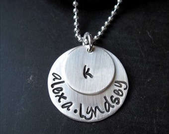 Hand Stamped Sterling Silver Necklace-Hand Stamped Necklace-Personalized Necklace-Silver Necklace-Sterling Necklace-Gift for Her-Jewelry