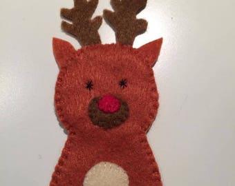 This finger puppet felt Rudolph the reindeer Santa
