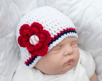 BABY GIRL BASEBALL Crochet Baseball Hat, Crochet Baby Girl Clothes, Coming Home Outfit, Baby Baseball Hat, Baseball Gifts, Red White Blue