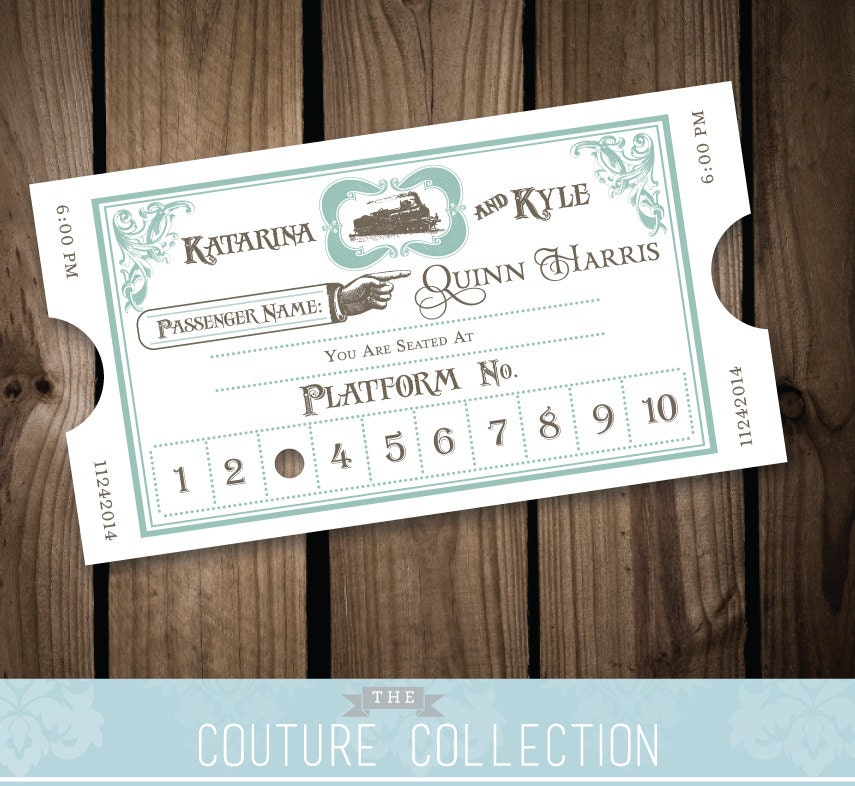 printable wedding place cards vintage%0A Vintage Styled Train Ticket Place Cards Escort Cards From