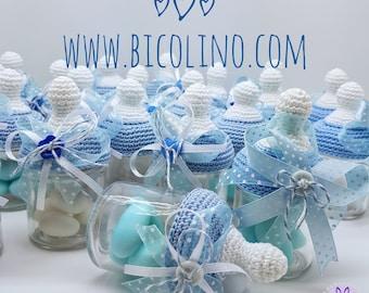 Lot 20 baby bottle crochet package favors for birth / baptism blue sky