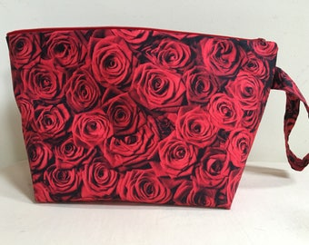 Knitting Project Bag, Sock Bag, Project Bag, Small Knitting Project Bag, Zipper Bag, WIP Bag, Valentine Project Bag, Red Rose Project Bag