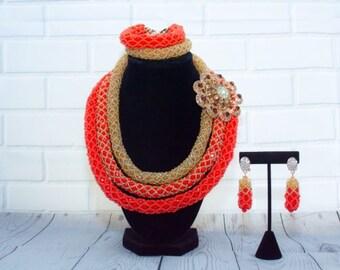 Triple Row 4-Piece Jewelry Set