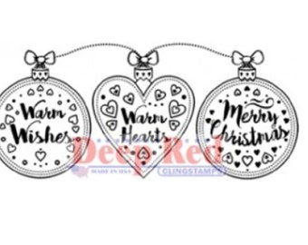 Deep Red Rubber Stamp Warm Wishes and Hearts Merry Christmas Ornament Garland