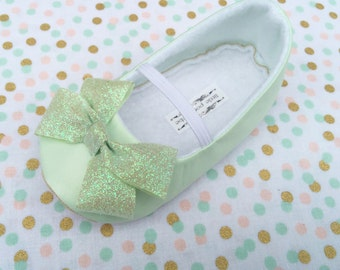 Mint Green Baby Girl Shoes Toddler Girl Shoes Infant Shoes Soft Soled Shoes Wedding Shoes Flower Girl Shoes - Blake