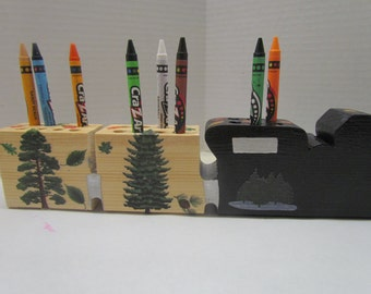 Wooden Forest Train Crayon Holder with Crayons~Artist Toy~Pretend Play~Playroom Toys~Classroom Accessory~Birthday Gift~Handmade  Wooden Toy