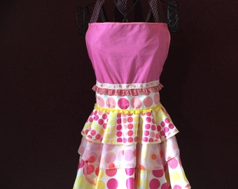 Apron Sugar Spun Dots Couture Apron by Trish Vernazza Featured designer in Apronology Magazine