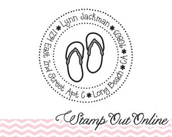 Personalized Custom Return Address Rubber Stamp, Wood Plastic Stamp, Cute Flip Flop Beach House Address Stamper, Self Inking, Ink Pad --2509