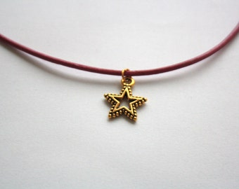 Gold Open Star Choker Necklace, Dark Pink Leather Cord, Gold Plated Chain and Clasp