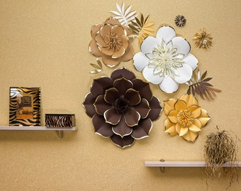 Giant Paper Flower Backdrop - Set of 4 Unique Large Paper Flowers Golden Brown Ivory with Gold Trim Along Edges of the Petals - Flower Wall