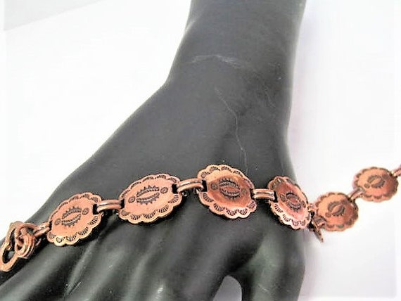 Copper Bracelet,  Native American, Stamped Copper Links, Mid Century Stamped Symbols