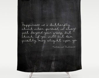 Quote Shower Curtain, Butterfly, Inspirational Quote, Black, Shabby Chic, Farmhouse Decor, Cottage Chic, Rustic Bathroom Decor, Housewarming