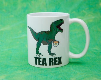 Tea Rex Printed Mug Cute Personalised Custom Gift Christmas Secret Santa Tumblr Cuppa Brew Dinosaur Geek T-Rex