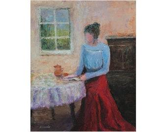 "8 x 10 ORIGINAL Impressionistic Vintage Figurative Female Acrylic Painting ""Morning Tea"""