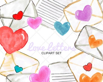 Valentines Clipart - Watercolor Clipart - Heart Clipart - Mail Clipart - Vday clipart - Scrapbooking - Scrapbook supplies