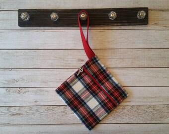 Tartan plaid flannel,Red and white wristlet,Phone wristlet,Christmas wristlet
