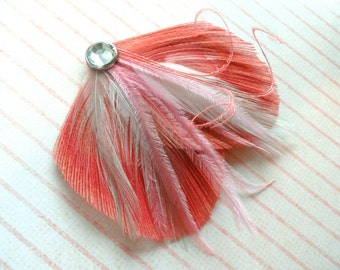 DREAM in Coral, Mint, and Pink Peacock Feather Hair Clip, Feather Fascinator