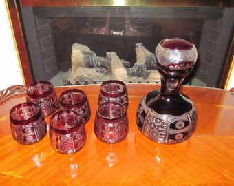 Gorgeous Bohemian Decanter Set in Red Cut to Clear