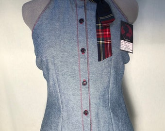 Latana: Jean blouse with plaid neck tie, size 12