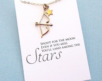 Graduation Gift   Bow and Arrow Necklace, Inspirational College Student Gift, Class of 2018 Graduation, Teacher Gift, Best Friend Gift   G09