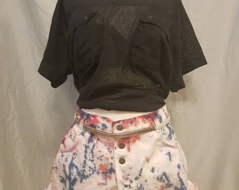 Custom tie dyed high waisted vintage women's shorts