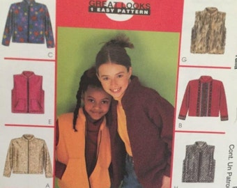 McCall's 2918  Childrens Girls Jacket or Vest  Size 7-8-10  Uncut New