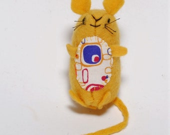 Handmade Little Yellow Collectible Mouse Gift Child's Pocket Mouse Gift Handstitched Organic Felt Mouse Toy