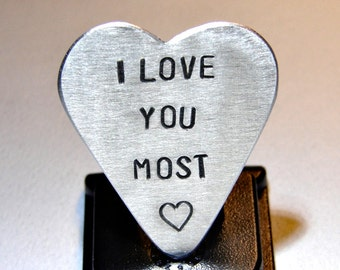 Guitar Pick I Love You Handmade from Aluminum in Heart Shape - GP799